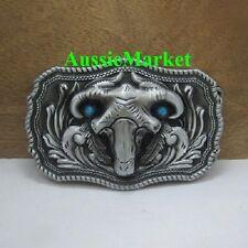 1 x mens ladies belt buckle sheep skull head ram horns jeans farm animal pewter