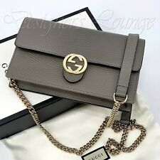 Gucci Interlocking GG Wallet on Chain Crossbody Bag Clutch Gray 510314 Auth