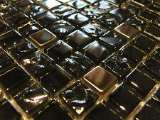 Glasmosaik Mosaik Perlmutt Effekt Metalleffekt Fliese silber schwarz Edelstahl !
