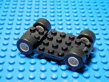 Lego Legos  NEW BLACK  Vehicle Base  with White Mag Wheels and Black Tires