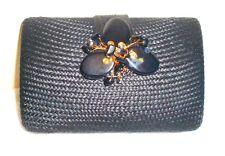 Straw Sand Clutch Flower Bag Purse Handbag NEW Beaded Black Handbag Chain Only 1