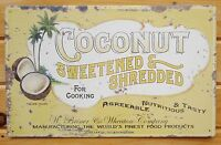 Coconut TIN SIGN metal wall decor vtg advertising poster rustic palm tree art
