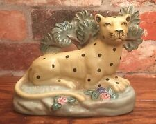 Staffordshire Leopard with Bocage Porcelain Figurine