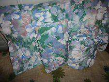 VINTAGE SPRINGMAID WATERCOLOR BLUES PURPLE GREEN FLORAL (3PC) TWIN SHEET SET