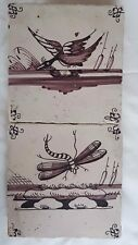 MANGANESE 2 DELFT TILES WITH DRAGONFLY  DUCK DESIGN, MOUNTED ON WOOD, 18TH C