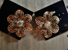flower with aurora borealis crystal  Vintage 1980's Avon post earrings filigree