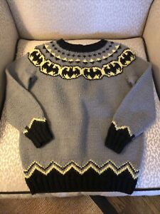 Batman Hand Knit Boys vintage gray  Winter Sweater no size tag See Photos size 5