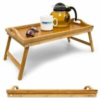 Quality Foldable Bamboo Wooden Bed Tray Serving Breakfast Lap Tray Table Mate