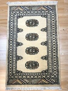 Bokhara Rug in Gold Beige Original Hand Knotted Oriental Wool Rug 62x99cm -40%RP