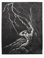 Original Woodcut Print Classic Black White Male Tree Struck Lightning Night