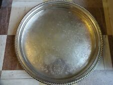 More details for antique silver plated chased round large gallery tray diameter 38 cm