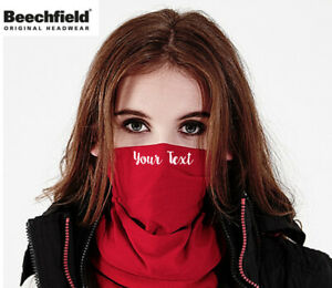 Personalise TEXT  Face Mask Snood Beechfield Morf Washable Scarf Breathable