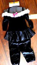 NWT Deluxe Cat Girls M 6-8 Costume Kitten Black White Tail Jumpsuit Kitten FAST