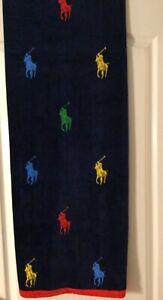 "Polo Ralph Lauren Beach Towel All Over Pony Print Navy  35""x66"""