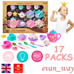 Kids Plastic Play Toy Tea Set Teapot Cups and Plates Gift Pack Role Pretend Play