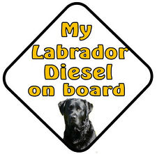 Personalised Dog Car/window/door sign- On Board/Caution Lives Here/ I Love My...