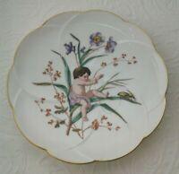 """Antique Hand Painted Porcelain Cabinet Plate Cherubs Gold Trim Floral 8 1/2"""""""
