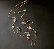Dot & Line enamel flowers stella  black red beads gold tone long dot necklace