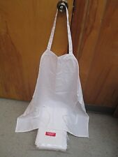 "New Domestic Uniform 100% Polyester White Apron Bib ""Lot Of 12"""