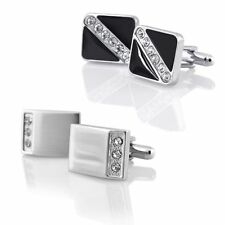 Silver/Black Crystal Stainless Steel Mens Wedding Cuff Links Square Cufflinks