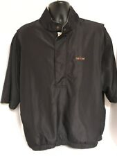 FootJoy DryJoys Mens S/S Black 1/2 Zip Rain Windbreaker Golf Jacket LARGE