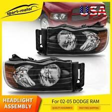 for 2002-2005 Dodge Ram 1500 2500 3500 Pickup Black Headlights Headlamps Pair (Fits: Dodge)