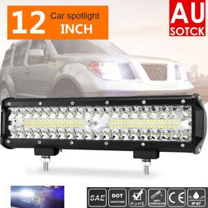 12inch LED Light Bar Driving Work SPOT FLOOD Combo CREE 4WD CAR ATV+ Wiring Kit