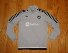 Adidas Sporting KC Angle Zip Pullover Size S Gray Men's Climacool Kansas City