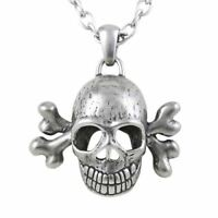Toxic Cross Bones Skull Pendant Necklace Stainless Steel Punk Goth By Controse