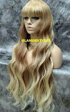 Human Hair Blend Full Wig Very Long Layered Bangs Caramel Blonde Mix #T27.613
