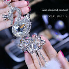 Car Hanging Mirror Ornament Crystal Swan Charm Pendant Accessories Bling Silver