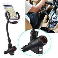 Dual USB Port Cigarette Lighter Socket Car Charger Mount Holder for Cell Phone