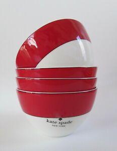 Kate Spade New York Red Rutherford Circle Bowls Set 4 NWT