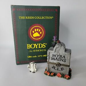 Boyds Myras Tombstone With Ghoulie McNibble Treasure Box Myra Mains Rip 4028416
