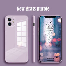 For iPhone 12 11 Pro Max XR X 8 7 Plus Liquid Silicone Tempered Glass Case Cover