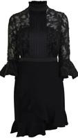 Three Floor Dark Knight Black Long Sleeve Dress Ladies UK Size 6 *REF146*