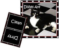 Cat Dishwashermagnet (Tuxedo #2) - (Clean/Dirty) Ship Free!