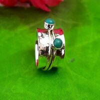 Turquoise Solid 925 Sterling Silver Spinner Ring Meditation statement Ring SR300