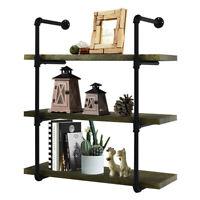 3 Tiers Industrial Wall Shelf Iron Wall Mounted Pipe Shelving Bookshelf Bracket