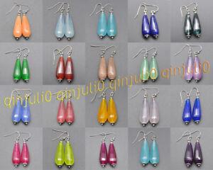 Faceted 11x27mm Multicolor Mixed Gemstone Teardrop Dangle Silver Hook Earrings
