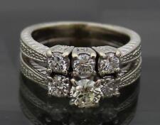 14k White Gold Ring Diamond Wedding Band Set Engagement Size 7 - 1.24ct RI