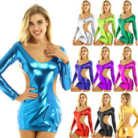 Women Ladies Backless Bodycon Mini Dress Shiny Metallic Night Club Party Dress