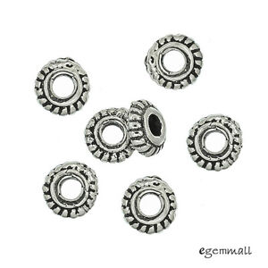 6 Antiqued Bali Sterling Silver Pumpkin Rondelle Spacer Beads ap. 4.5mm #99101