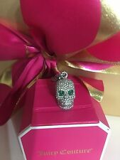 NIB Juicy Couture Skull Pave Emerald Necklace Gem Bracelet Charm Silver