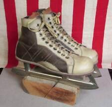 Vintage 1950s 2-Tone Leather Ice Hockey Skates Sz.7 Union Hardware Co.Goodyear