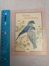 Happy Anniversary VTG Card Bluebirds & Apple Blossoms