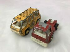Vintage Tootsietoy Toughs Die Cast Yellow Buzy Bees Bus & Red Truck Cab