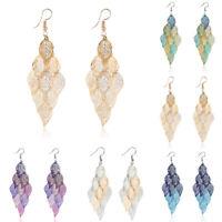 Women Fashion Hollow Long Dangle Drop Lea Earrings Alloy Leaf Jewelry