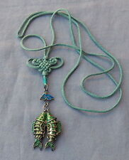 Vintage Silver Chinese Enamel Double Fish Articulated Pendant Necklace