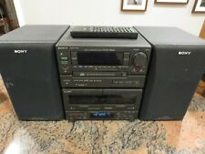 New listing Sony Mhc -1600 Personal Shelve Stereo with Speakers and Remote Cd Cassette Am Fm